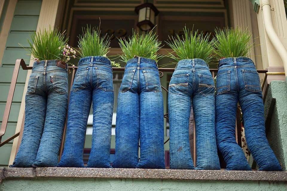 Cara Membuat Pot Bunga Dari Celana Jeans