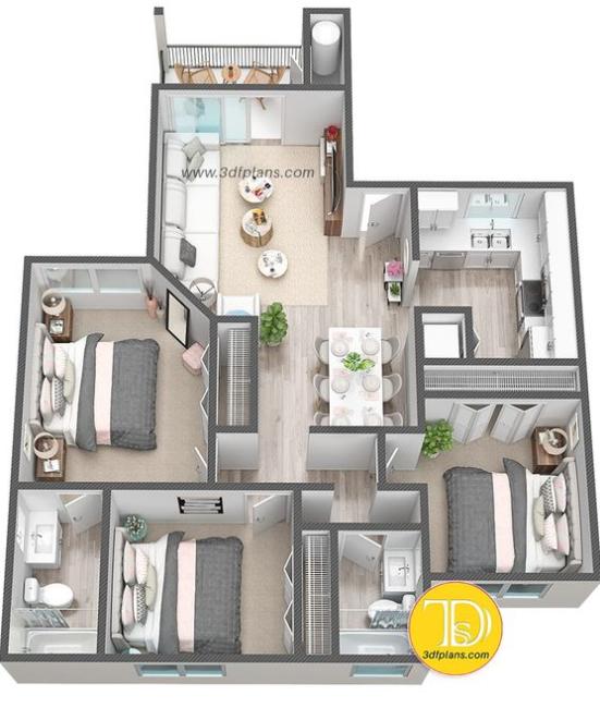 rumah 3 kamar tidur 1 lantai