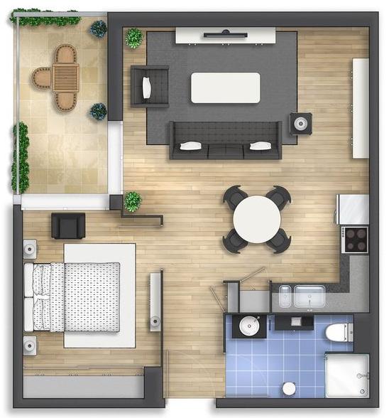Denah Rumah Minimalis Type 36 Modern | Blog QHOMEMART
