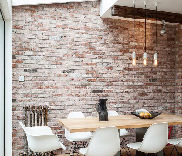 Inspirasi dinding batu bata ruang makan