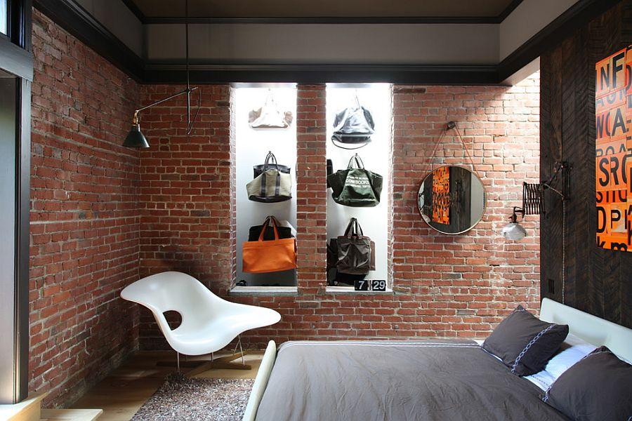 Inspirasi dinding batu bata kamar tidur