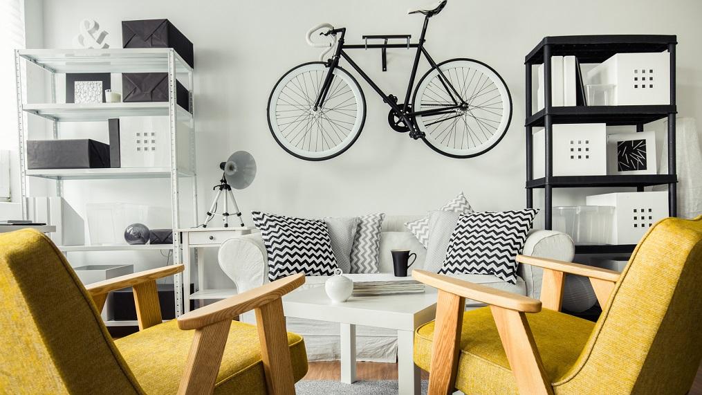 apartemen studio sepeda dinding